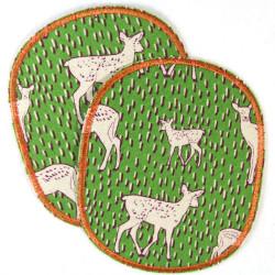 Flicken Knieflicken Rehe Bügelflicken Set retro XL 12 x 10 cm 2 Stück große Aufbügler für Kinder Hosenflicken Rehkitz