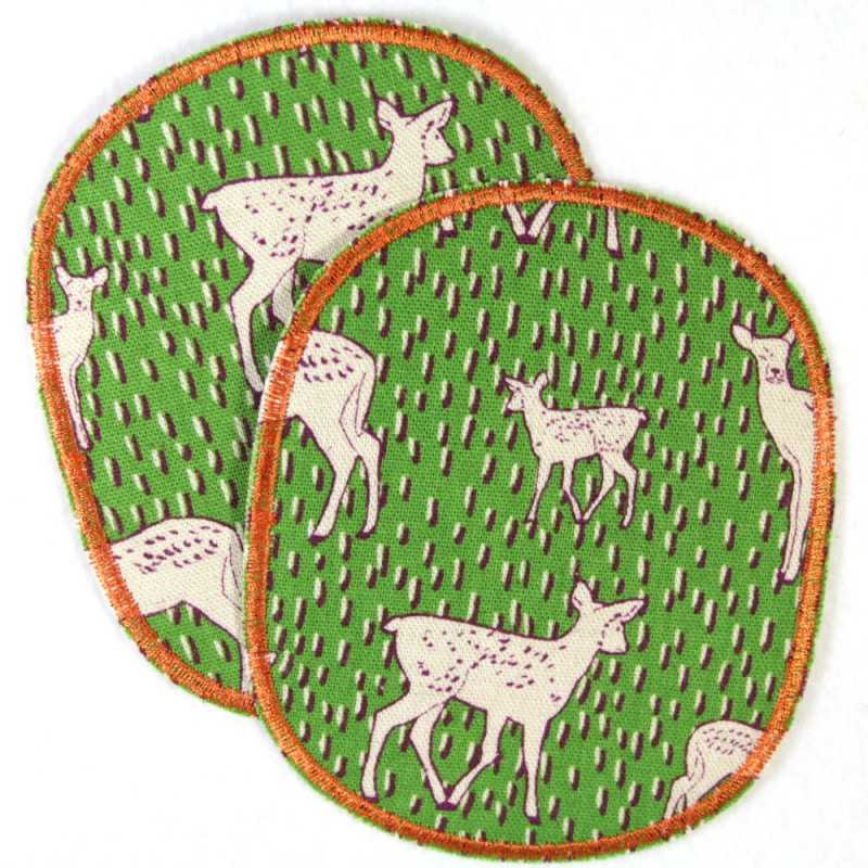 Patches knee patches deer iron-on patches set retro XL 12 x 10 cm 2 pieces large patches for children trouser patches fawn
