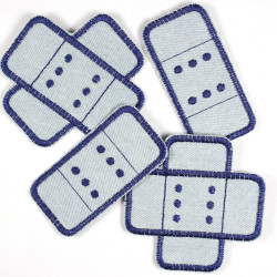 Flicken Pflaster Set 4 Stück Buegelflicken Jeans hellblau dunkelblau Aufbuegler Knieflicken Hosenflicken