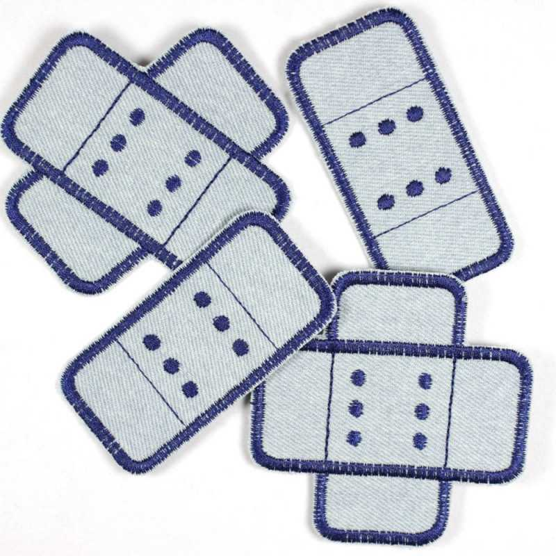 Flickli - the iron-on-patch! Set jeans plaster patches 4 items light blue / dark blue badges