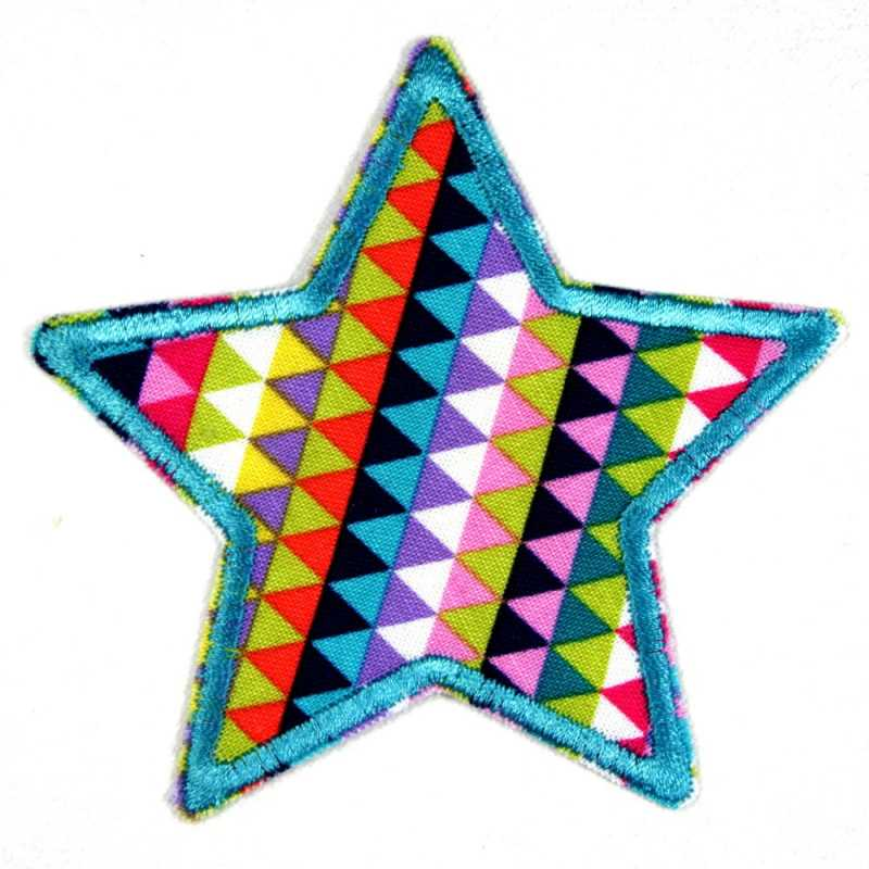 Flickli - the iron-on-patch! star colorful outlined in turquoise badges geometric applique