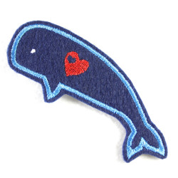 Flickli - the iron-on patch! whale blue with little embroidered red heart