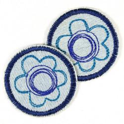 Bügelbild Blume 2 Flicken Aufbügler Blümchen Bügelflicken blau Jeans mini patches Applikation hellblau klein Flowers