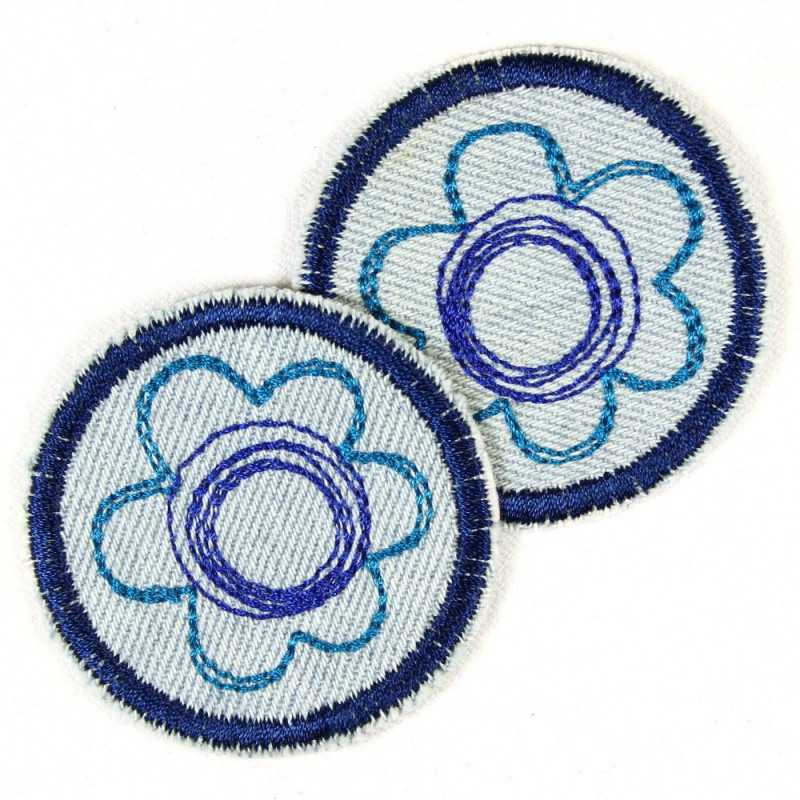 Flickli - the patch! round with flower on blue jeans set with 2 items