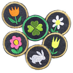 Iron-on patches set of 6 patchwork round flowers bunny cloverleaf patches jeans rabbit tulip