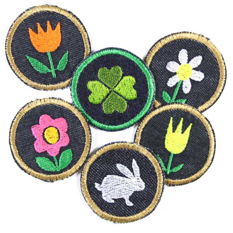 Iron-on patches bunny spring set of 5 patchwork 4 round flowers patches 5cm tulips floral daisies and jeans rabbit patch
