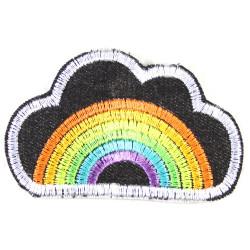 Bügelflicken Regenbogen neon Wolken Bügelbild Jeans Flicken Aufbügler leuchtend auch als Knieflicken und Hosenflicken aufbügeln