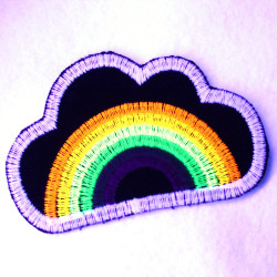 Flickli - the patch! rainbow and clouds on lightblue denim