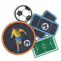 Bügelflicken Fußballer Fußball Set mit Fußballplatz Pflaster und Fußball Flicken