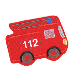 iron-on-patch fire truck for children 112 badges red for boys