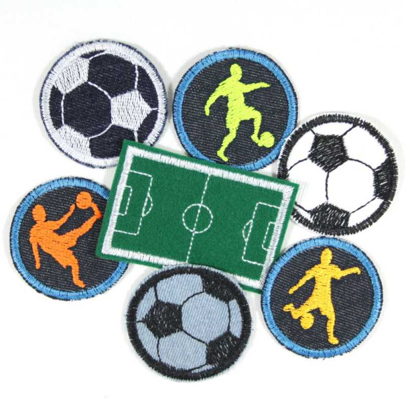Iron-on patches football set 7 patches footballers iron-on patches offer soccer field iron-on patches boys patches