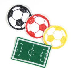 Bügelbilder Set Aufbügler Jungs 4 Flicken zum aufbügeln Fußball Fußballplatz kleine Bügelflicken