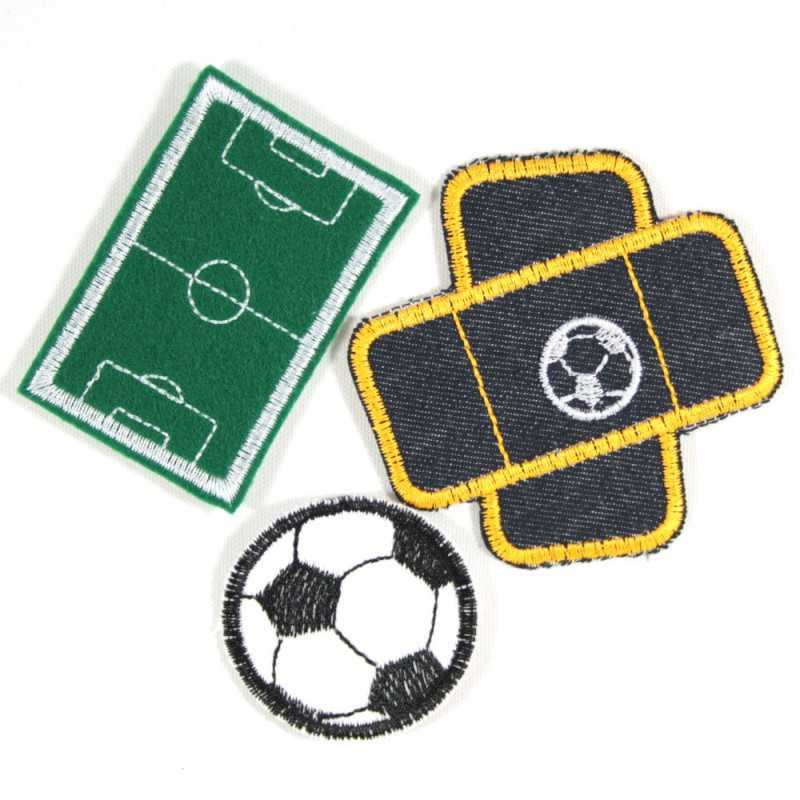 Iron-on Patches set 3 football football field applique plaster badges for boys