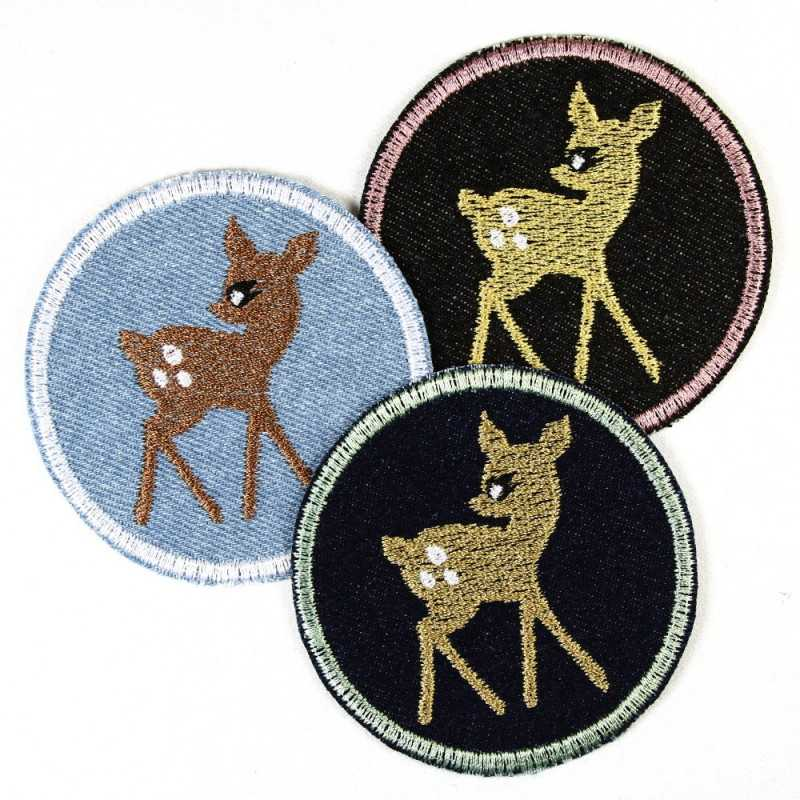 iron-on-patch! round deer ø 7cm 3 items offer discount fawn badges appliques