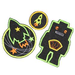 Bügelbilder Roboter Set Flicken Rakete rund 3 Bügelflicken Jeans schwarz grün Knieflicken Hosenflicken Jungen patches neon