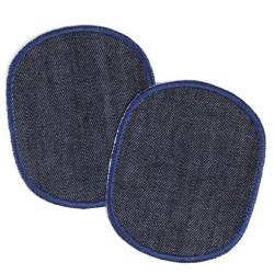 Bügelflicken für Erwachene Flicken Set Knieflicken und Hosenflicken Jeans Uni 2 Aufbügler blau groß schlicht 10x12 cm XL Flicken