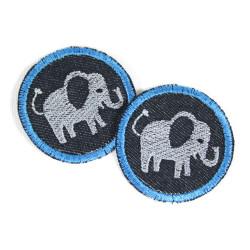 Hosenflicken Elefant Aufbügler Set Knieflicken mini Bügelflicken Jeans für Kinder rund 2 Elefanten Applikation Bügelbilder