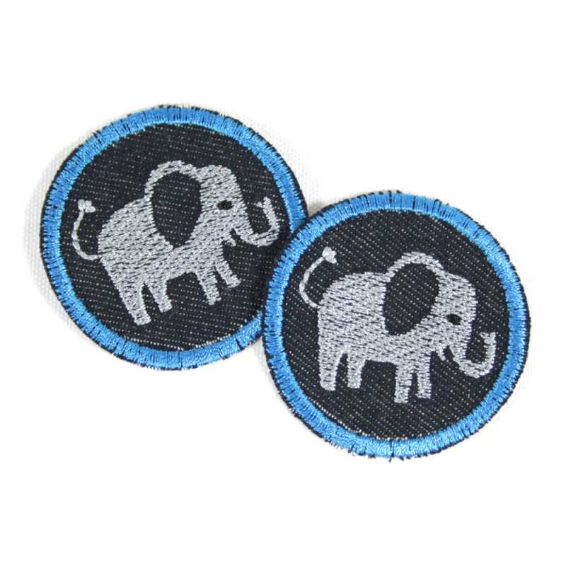 2 iron on patches round with elephants on blue orrganic denim as appliques