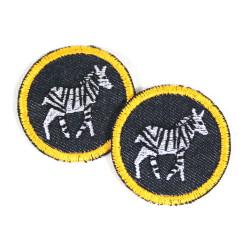 Zebra Hosenflicken Aufbügler Jeans Set kleine Bügelflicken Zebras Flicken als patches Knieflicken Safari 2 Bügelbilder