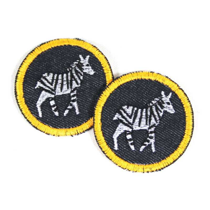 2 iron on patches round with zebras on blue jeans as appliques badges small