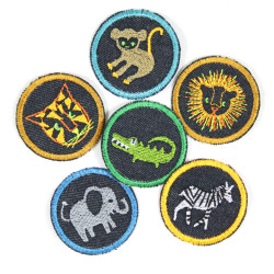 Iron-on patches set of 6 animal appliques crocodile elephant lion tiger ape zebra