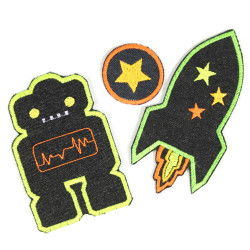 iron-on-patches pack! robot and rockets badges black green robots applique kids