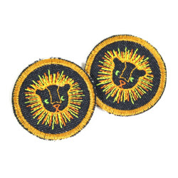 2 iron on patches round with lion on blue jeans as appliques safari badges small