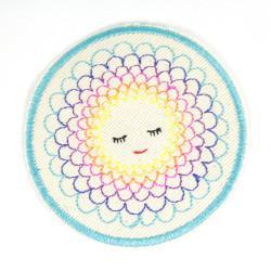 Aufbügler Blume Flicken rund Hosenflicken Blumen Bügelflicken für Mädchen als Knieflicken zum aufbügeln ca.9,5 cm Appikation