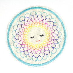 Iron-on Patch round applique accessories rainbow flower colorful embroidery