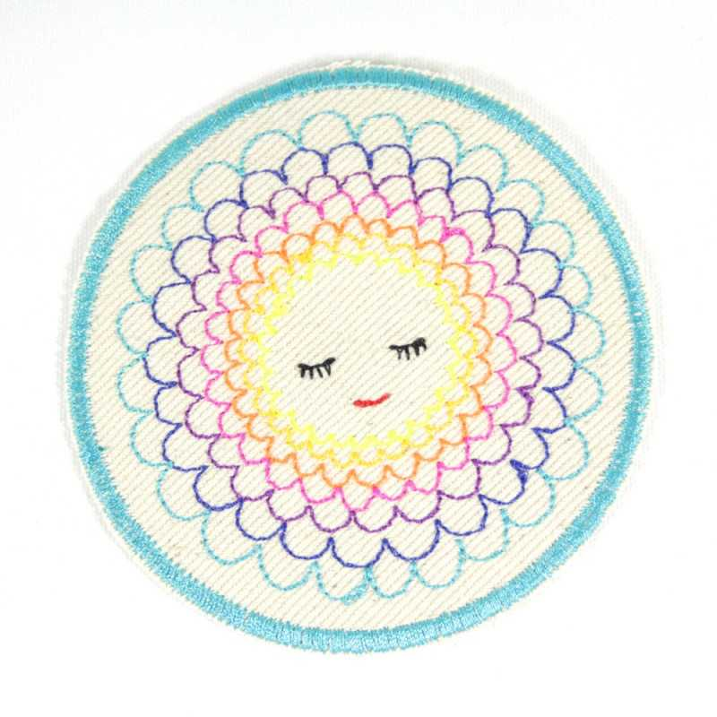Patch flower patches round trouser patches flowers iron-on patches for girls as knee patches to iron on approx. 9.5 cm appliqué