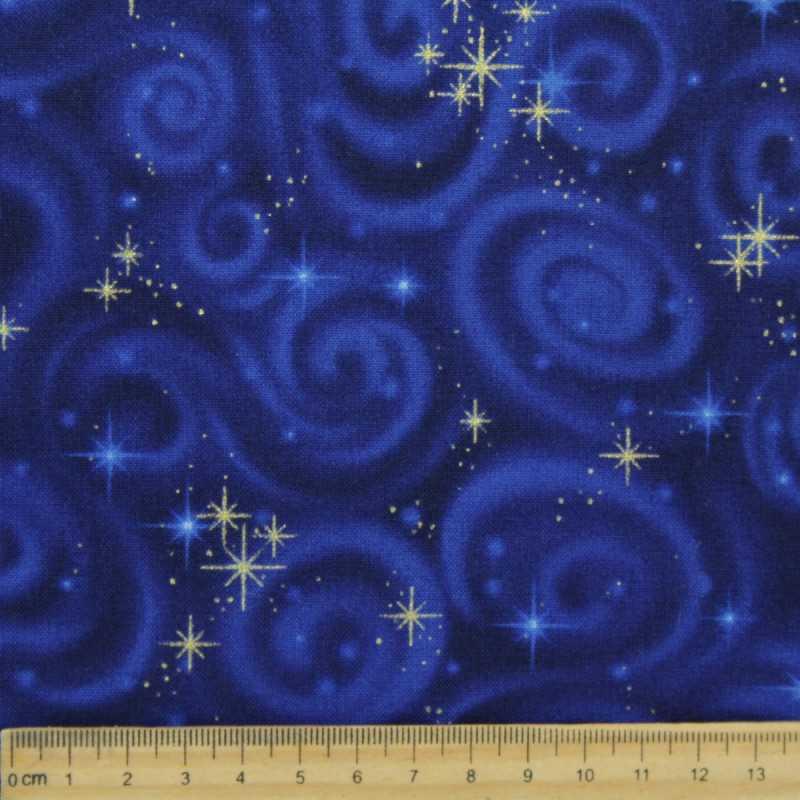 Cotton fabric stars fabrics universe Robert Kaufman fabrics orbit gold blue