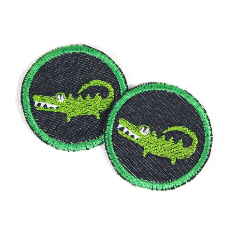 2 iron on patches round with crocodile on blue jeans as appliques safari badges small