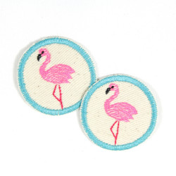 2 iron on patches round flamingo appliques flamingos bird badges