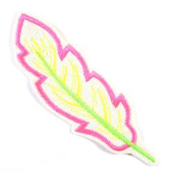 Aufbügler Feder neon Bügelbild Flicken zum aufbügeln Patches Neon-Feder Bügelflicken für Kinder und Erwachsene Applikation