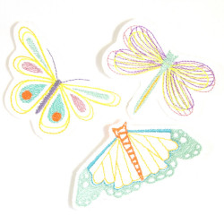 Iron-on Patch butterflies set applique dragonfly Iron-on badges accessories colorful