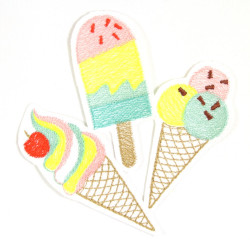 Iron-on Patch ice set 3 applique ice cream accessories colorful badges for kids