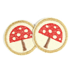 2 iron on patches round flamingos on nature cotton appliques flamingo badges