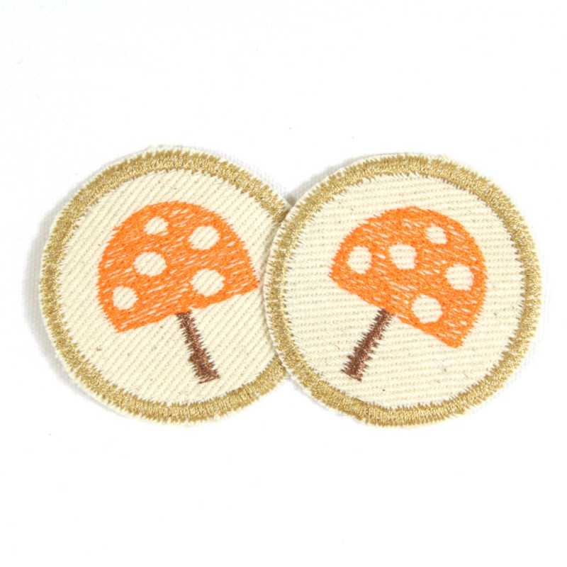 iron-on patches toadstool 2 orange mushroom on nature cotton badges appliques