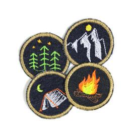 Flicken Set Natur patches Bügelbilder Feuer Wald Zelt Berg 4 Aufbügler Set
