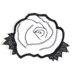 Bügelbild Rose Blumen Aufbügler weiß / schwarz Aufnäher Patch Flicken Blüte Bügelflicken Rosenblüte Applikation Accessoire