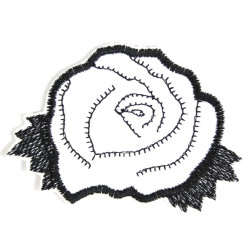iron-on-patch flickli! white black badges rose rosebush patch flower appliques