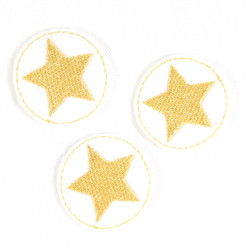 iron-on-patch round with gold star on white 3 piece iron-on-badges