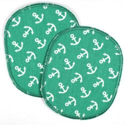 Flicken 12x10 cm Knieflicken 2 Hosenflicken Anker Bügelflicken groß Aufbügler XL patches maritim Bügelbilder grün Applikation