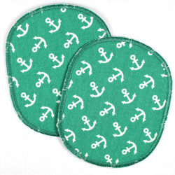 iron-on patch Flickli! Set XL retro little white anchor on green big iron on badges for kids and adults