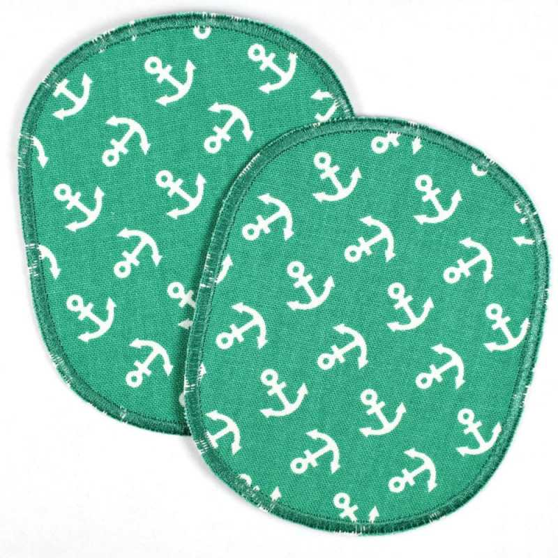 iron-on patch Set XL retro little white anchor on green big iron on badges for kids and adults