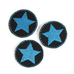 Flicken Sterne Set mini Bügelflicken Stern Aufbügler petrol Sternchen Hosenflicken patches Applikation kleine Bügelbilder