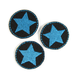 iron-on patch star petrol blue patches mini badge appliques iron-on small 3 piece