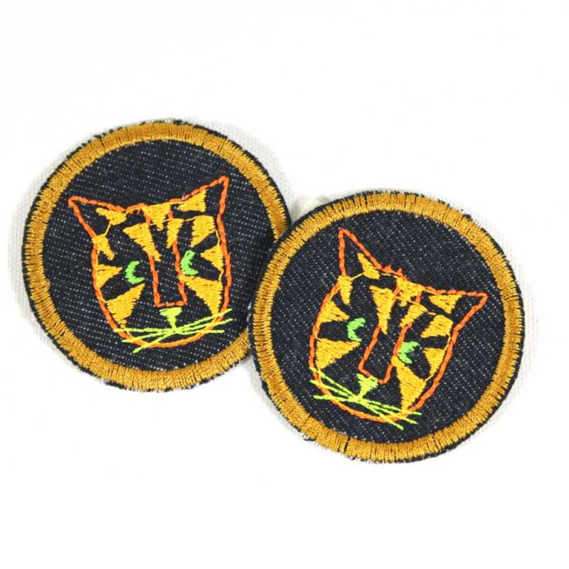 2 iron on patches round with tiger on blue organic jeans small badges set kids