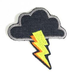 Bügelflicken Wolke mit Blitz Flicken neon Bügelbilder Jeansflicken Hosenflicken Knieflicken Himmel patch Gewitter Aufbügler