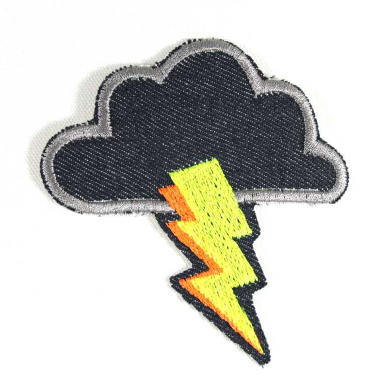Iron-on patch cloud with lightning patch neon iron-on patch sky patch thunderstorm iron on patch
